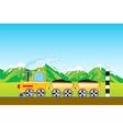 Cargo locomotive in mountain vector image vector image