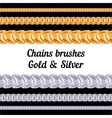 chains metal brushes - gold and silver vector image vector image