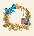 christmas background with beautiful wreath bird vector image vector image