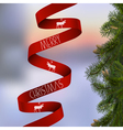 Christmas card with with fir branches and red vector image vector image