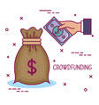 crowdfunding business cooperation bag money share vector image vector image