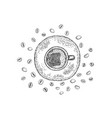 cup with a coffee drink and coffee beans on the vector image vector image