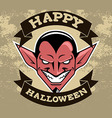Devil Head Halloween Badge vector image vector image