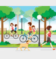 family riding bicycle in public park vector image vector image