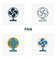 fan icon set four elements in diferent styles vector image vector image