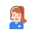 female operation call center for helpline service vector image