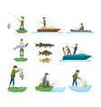 fisherman catches fish from shore shows catch vector image