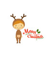 funny little boy dressed as deer smiling kid in vector image vector image