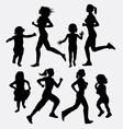 Girl and children running silhouette vector image vector image
