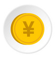 gold coin with yen sign icon circle vector image vector image