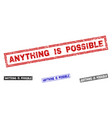 grunge anything is possible textured rectangle vector image vector image