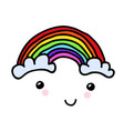 hand-painted smiling rainbow with clouds vector image vector image