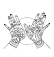 Hands with mehndi drawing coloring book for adults vector image vector image