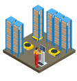 isometric automated warehouse robots modern vector image