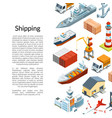 isometric marine logistics and seaport vector image vector image