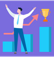 man and golden trophy diagram and growing sales vector image vector image