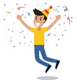 man cheerful dance party confetti vector image