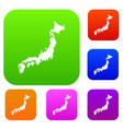 map of japan set collection vector image vector image