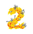 number 2 hellish flames and sinners font fiery vector image vector image