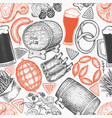 octoberfest seamless pattern hand drawn greeting vector image
