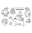 outline set with Santa Claus vector image
