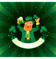 patrick with beer and shamrock vector image vector image
