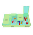 pills and capsules in special container with vector image