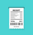 receipt simple icon with barcode - invoice vector image vector image