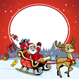 santa and the deer greeting christmas vector image vector image