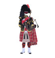 scottish traditional clothing with bagpipes vector image vector image