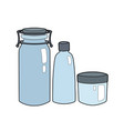 set cartoon contour blue glass bottles and vector image vector image