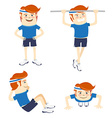 set hipster funny sportsmen doing exercises vector image