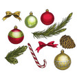 set of colorful christmas elements and decorations vector image vector image