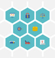 set of finance icons flat style symbols with card vector image vector image