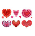 set of red and pink doodle hearts decorated boho vector image