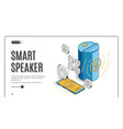 smart speaker landing on retro colored background vector image vector image