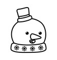 snowman with hat and carrot nose decoration merry vector image vector image