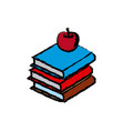 stack books apple back to school education concept vector image vector image