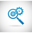 Troubleshooting Symbol Magnifying Glass and Gears vector image vector image