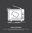 tv ad advertising television set icon glyph vector image