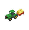 wheeled tractor with trailer full hay icon vector image