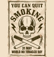 world no tobacco day vintage poster with skull vector image