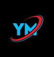 Ym y m letter logo design initial letter ym