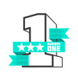 3d number one with ribbon banner design vector image