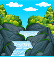 background scene with waterfall at daytime vector image vector image
