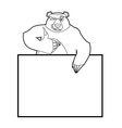 Bear and empty banner Wild animal and blank Beast vector image vector image
