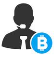 bitcoin call operator flat icon vector image