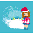 cartoon girl and christmas tree with gifts vector image vector image