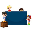 Children around the blue board vector image