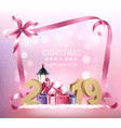 christmas holiday background with 2019 and pink vector image vector image